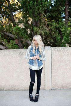 34 outfits con chaleco de mezclilla | Belleza
