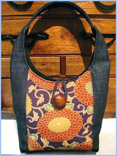 denim bag with contrast fabric