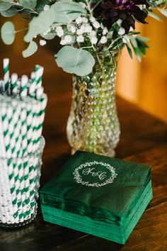 Green, Monogrammed Cocktail Napkins | Photo: Briana Moore Photography.