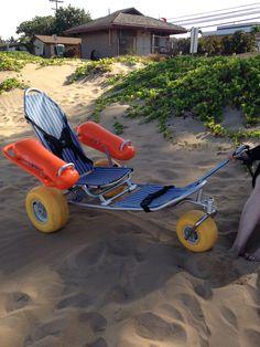 Beach wheelchair. Available at Kam 1 lifeguard station. Kihei, HI