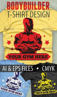 #Bodybuilder #T-shirt #Design - Sports & Teams T-Shirts Download here: https://graphicriver.net/item/bodybuilder-tshirt-design/3751935?ref=alena994