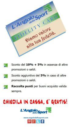 Un mare di vantaggi per premiare la tua fedeltà, che aspetti a richiedere la tua Fidelity Card?  www.facebook.com/angolodellosport