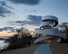 A wedding chapel made up of two, intertwining stairways that join together as one, much like a marriage.