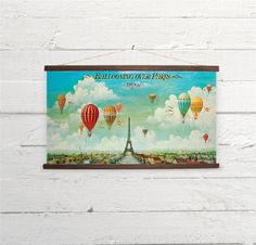 Ballooning Over Paris Vintage Hot Air Balloons by BygonePress