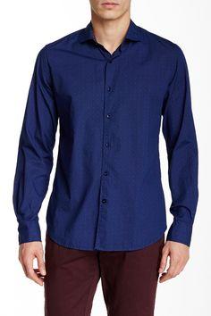 Dot Matrix Print Long Sleeve Slim Fit Shirt