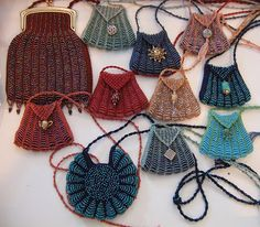 """Beaded Amulet Bags; free pattern for smaller size. * * * DMC Perlé Coton, Size 8, Size 11 seed beads, Size 000 or 0000 steel knit needles or 24"""" circular"""