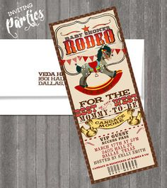 Vintage Baby cowboy rodeo themed-  western baby Shower or  Birthday invite diy print file PRINT YOUR OWN via Etsy