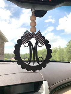 Rear View Mirror, Car Mirror, Car Hanging Accessories, Car Monogram, Mirror Hangers, Wooden Car, Wine Glass Charms, Buffalo Plaid, Ram Van