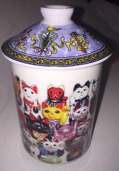 "Kafuh Japan Maneki Neko Lucky Cats 4"" Tea Cup Beautiful! w/ Lid $14.99"