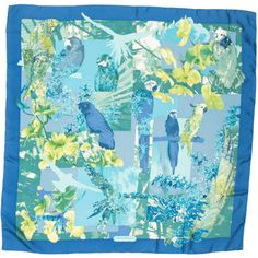 Pre-owned Salvatore Ferragamo Silk Parrot Printed Scarf (1.295.325 IDR) ❤ liked on Polyvore featuring accessories, scarves, blue, print scarves, salvatore ferragamo, blue scarves, patterned scarves and colorful shawl