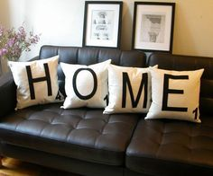 """Personalize your pillows with these four custom made scrabble pillows. You can also order multiple pillows to combine for one giant word, such as <a href=""""http://en.wikipedia.org/wiki/Longest_word_in_English"""" rel=""""nofollow"""" target=""""_blank"""">Pseudopseudohypoparathyroidism</a>, or stick with the standard four pillows with your choice of letters."""