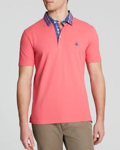 Brooks Brothers Woven Plaid Collar Polo - Slim Fit