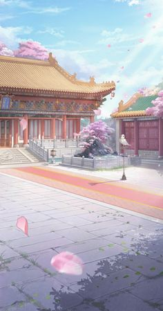 Fantasy Art Landscapes, Fantasy Artwork, Anime Scenery Wallpaper, Wallpaper Backgrounds, Japanese Buildings, Anime Places, Real Anime, Japon Illustration, Château Fort