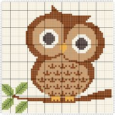 Borduurpatroon voor een uiltje. Cross stitch pattern for an owl. Create you own patterns at www.stitchfiddle.com