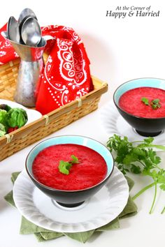 Chilled Beetroot, Tomato & Watermelon Soup {A Summery Borscht} Raw Food Recipes, Food Network Recipes, Great Recipes, Watermelon Soup, Creamy Chicken Tortilla Soup, Borscht, Veggie Pizza, Dairy Free, Gluten Free