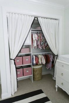 346 Living: Sweet baby girl's nursery closet design with Ikea curtains replacing. 346 Living: Sweet baby girl's nursery closet design with Ikea curtains replacing closet doors . Kid Closet, Closet Bedroom, Girls Bedroom, Girl Nursery, Nursery Ideas, Nursery Inspiration, Closet Space, Trendy Bedroom, Bedroom Storage