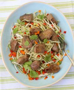 Marinated tuna on a warm noodle salad with coriander pesto | Drizzle & Dip