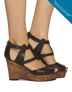 Pia Strappy Wedge - Black - was $160