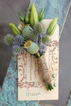 Mid-summer boutonniere with poppy pods, eryngium, and lisianthus buds. Grown and designed by Love 'n Fresh Flowers. Floral Wedding, Rustic Wedding, Wedding Flowers, Woodland Wedding, Groom And Groomsmen, Groom Attire, Passion Flower, Flower Farm, Wedding Trends