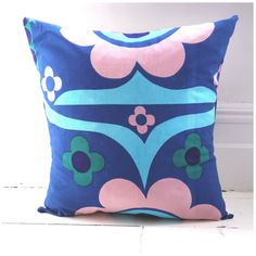 Vintage 60s mod cushion cover Heals David Whitehead designer 70s mid century op art blue pink vintage cushion retro pillow available to buy on Etsy: https://www.etsy.com/uk/shop/VaVaVoomCushions?ref=hdr_shop_menu