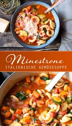 Minestrone – Italian Vegetable Soup (Stew) – Madame Cuisine – Rezepte – Welcome The Recipe Clean Eating Recipes For Dinner, Clean Eating Breakfast, Clean Eating Meal Plan, Clean Eating Snacks, Dinner Recipes, Italian Vegetable Soup, Vegetable Soup Healthy, Italian Vegetables, Soup Recipes