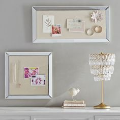 Tack up favorite photos, notes and more with this fun corkboard, featuring a chic beveled-mirror border.