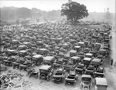 Autos owned by fans seeing World Series at Braves Field, Boston, October 1916. Parking lot packed in. If your car is in the middle, don't expect a quick exit