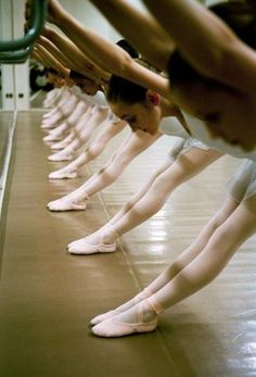 Ballet stretch at the barre.