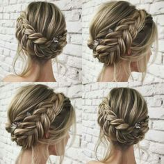 45 unique summer wedding hairstyles ideas 52 in 2019 Bridal Hair Updo, Wedding Hair And Makeup, Braided Wedding Hair, Braided Crown Hairstyles, Braided Hairstyles Updo, Wedding Braids, Easy Hairstyle, Bridesmaid Hair Updo Braid, Fishtail Braid Wedding