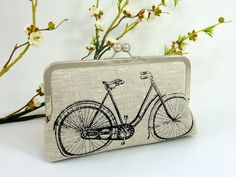 Linen Bicycle Clutch in Black NEW this season by JCarterHandmade, $49.00