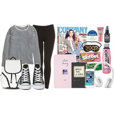 Airplane outfit and essentials by oliviaswardrobe on Polyvore featuring H&M, Topshop, Converse, Beats by Dr. Dre and Soap & Glory
