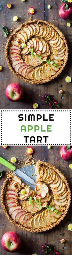 The most delicious way to eat your apple a day this fall & winter is in this Simple Apple Tart. Healthy oatmeal pie crust, apples & coconut sugar. Yum! via @Green Healthy Cooking