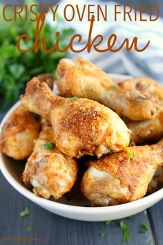 Chicken Legs In Oven, Crispy Oven Fried Chicken, Oven Chicken Recipes, Cooking Recipes, Game Recipes, Roasted Chicken, Yummy Recipes, Crispy Oven Fries, Cold Appetizers