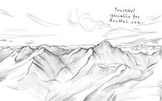 Imagem de http://arcmel.com/wp-content/uploads/2013/06/How-to-draw-mountains-step-4.jpg.