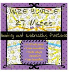 This product includes adding fractions mazes, subtracting fractions mazes and a mixture of adding and subtracting fractions. They include adding and subtra. Tes Resources, Teaching Resources, Adding And Subtracting Fractions, First Grade Math, Math Centers, Maze, Fun Activities, Test Prep, Number
