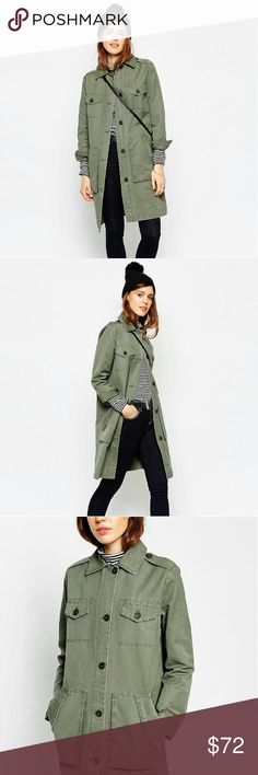 ASOS Military Jacket An oversized green military jacket / coat from ASOS. Good quality fabric. (sold out in this size on asos.com)  NWT - brand new, tags still attahced!  I am selling simply because I have another military jacket that fits me better & I decided I don't need two. ASOS Jackets & Coats Utility Jackets