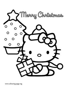 Christmas Hello Kitty Color Page Coloring
