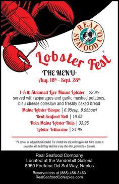 Lobster Fest, Lobster Tails, Live Maine Lobster, Seafood Company, September 28th, Lobster Bisque, Garlic Mashed Potatoes, Freshly Baked, Coleslaw