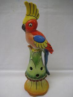Colorful Porcelain Stylized Cockatiel Parrot Flower Frog, #6714, Germany in Pottery & Glass, Pottery & China, Art Pottery | eBay