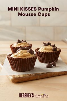 If you love pumpkin recipes, you'll love these MINI KISSES Pumpkin Mousse Cups. These fall-inspired mousse cups are a family-friendly pumpkin original. This recipe is made with HERSHEY'S MINI KISSES Brand Milk Chocolates for the perfect bite-sized dessert for Thanksgiving.