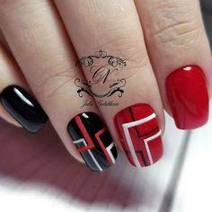 On average, the finger nails grow from 3 to millimeters per month. If it is difficult to change their growth rate, however, it is possible to cheat on their appearance and length through false nails. Plaid Nail Art, Plaid Nails, Red Nails, Fancy Nails, Cute Nails, Pretty Nails, Nagellack Design, Geometric Nail Art, Fabulous Nails