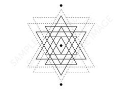 Medium Size temporary fake tattoo geometric start lines triangle polygon black
