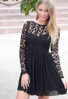 Sexy Backless Lace Spliced Long Sleeve Chiffon Dress