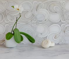 Euphoric from Country Floor's Glamour Collection combines Afyon White Honed marble and Snow White Polished marble.