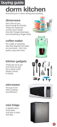 An efficient kitchen space can go a long way in any college dorm room. So whether you have friends over or just love solo snacking, it's good to have some kitchen basics covered: dinnerware (preferably unbreakable), a coffeemaker (for sure), microwave (un College Apartments, College Dorm Rooms, Dorm Room Food, Dorm Kitchen, Apartment Kitchen, Apartment Ideas, Kitchen Small, Kitchen Ideas, Kitchen Decor