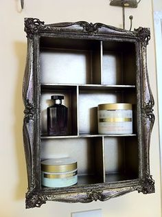 Grey shabby wall shelf unit distressed vintage chic storage ornate bedroom