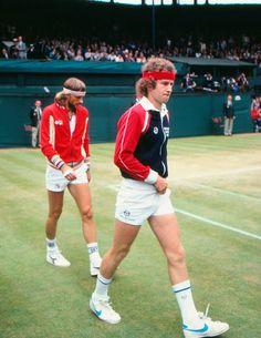 Out for tennis, Bjorn Borg and John McEnroe, Wimbledon finals in Wimbledon Tennis, Wimbledon Final, Mode Tennis, Tennis Gear, Tennis Clothes, Nike Clothes, Tennis Tips, Athletic Clothes, Tennis Fashion