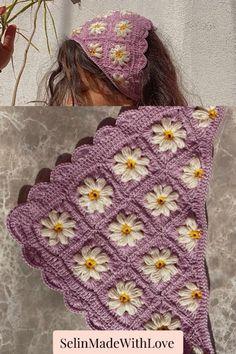 Flower Crochet, Crochet Rope, Cute Crochet, Knit Crochet, Crochet Hair Accessories, Crochet Hair Styles, Diy Crochet Projects, Crochet Crafts, Crochet Designs