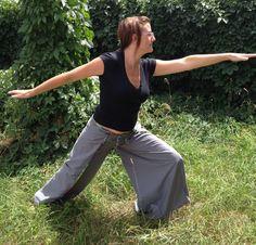 Gray/Grey Wrap Yoga Beach Open Wide Leg Pants w/ Rainbow Batik Binding by StarfawnClothing on Etsy