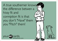 A true southerner knows the difference betwen a hissy fit and conniption fit is that you don't 'Have' them you 'Pitch' them!